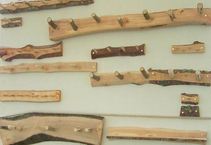 Green wood hanging rails