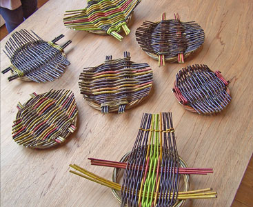Image of willow platters made using freshly cut willow and cornus from the grounds at Creative Craft Retreats
