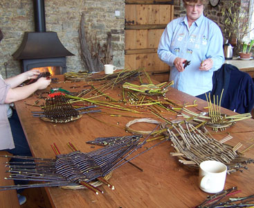 Image of willow workshop using freshly cut willow