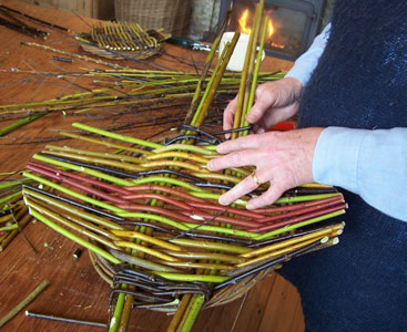 Image showing bright colours woven in willow and cornus on a Country Craft Taster Weekend